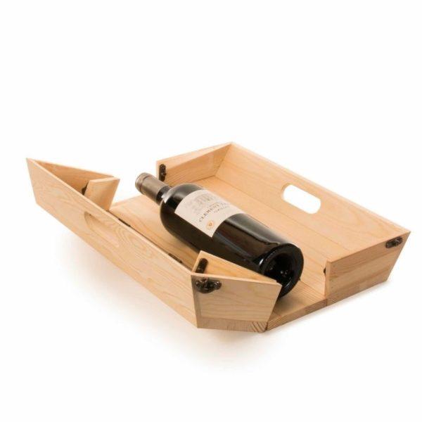 Caja de madera FSC para regalo botella vino y bandeja 3