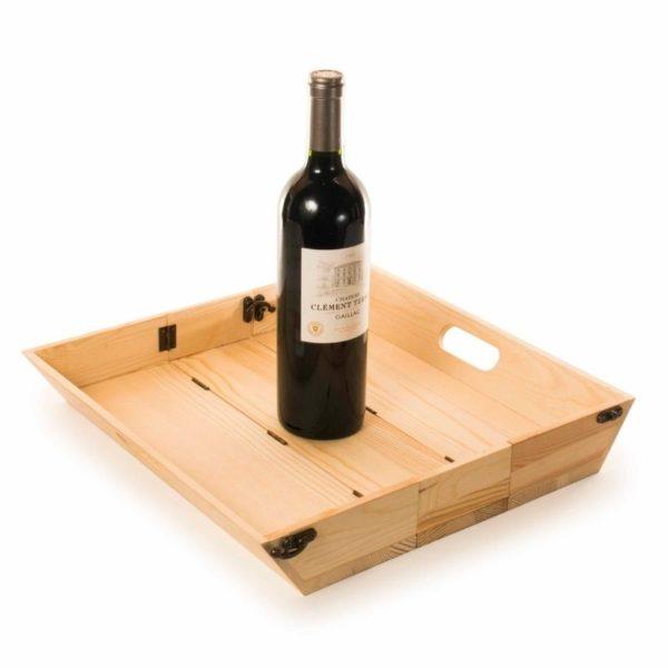 Caja de madera FSC para regalo botella vino y bandeja 4