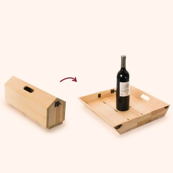 Caja de madera FSC para regalo vino y bandeja