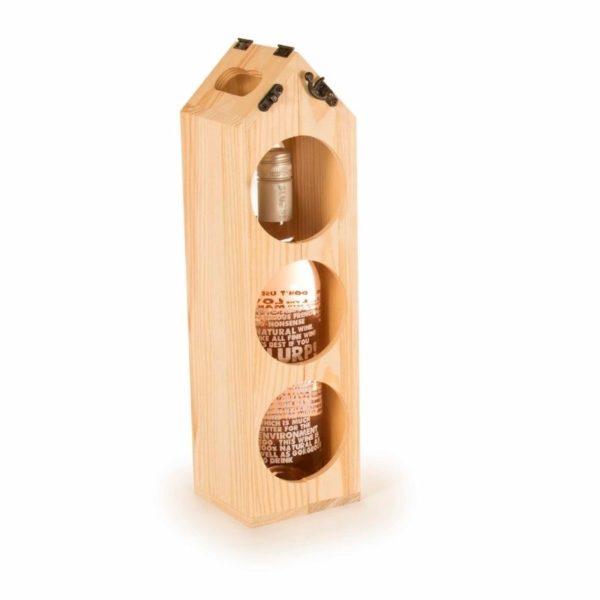 Caja madera FSC regalo botella vino y botellero 4