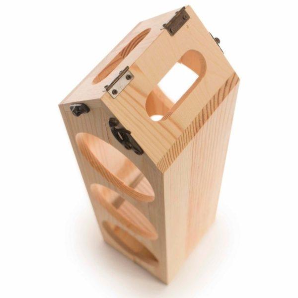Caja madera FSC regalo botella vino y botellero