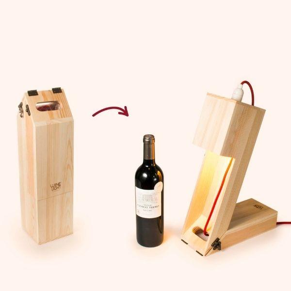 Caja madera fsc regalo botella vino y lampara 3