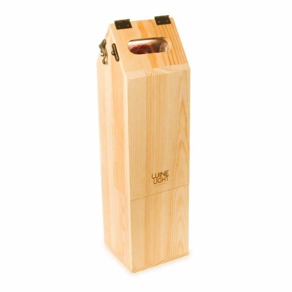 Caja madera fsc regalo botella vino y lampara 5
