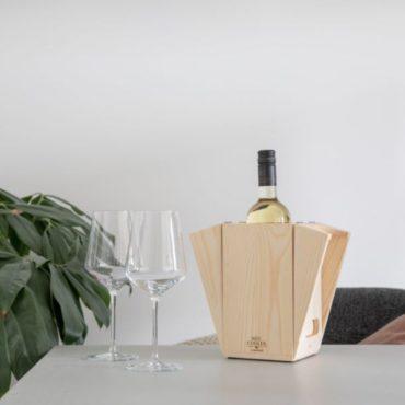 Caja madera fsc regalo botella vino y cubitera